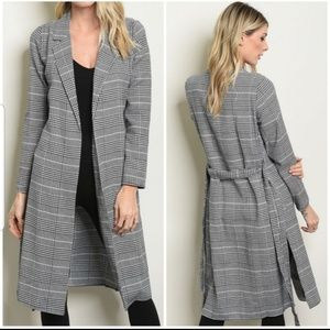 NEW Black And White Striped Coat